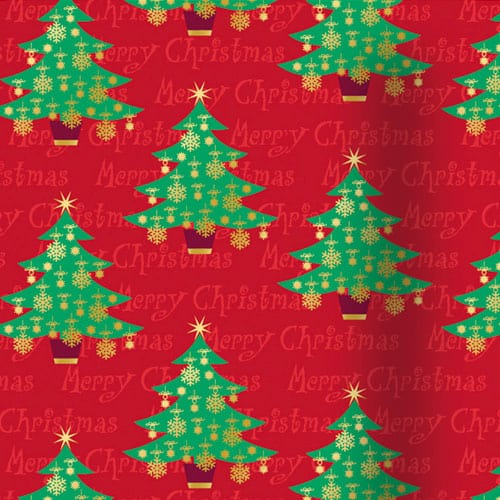 Christmas Trees Red Gift Wrap 152cm Product Gallery Image