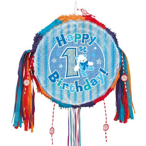 Happy 1st Birthday Blue Holographic Pull String Pinata