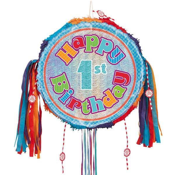 Happy 1st Birthday Holographic Pull String Pinata