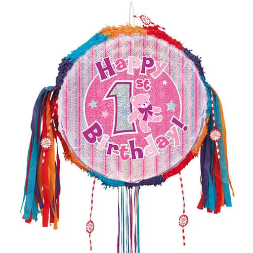 Happy 1st Birthday Pink Holographic Pull String Pinata