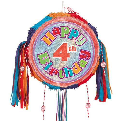 Happy 4th Birthday Holographic Pull String Pinata Product Image