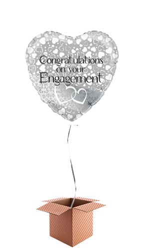 Hearts Engagement Foil Balloon - Inflated Balloon in a Box