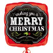 Merry Christmas Chalkboard Square Foil Helium Balloon 43cm / 17Inch