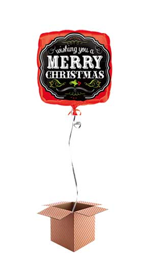 Merry Christmas Chalkboard Square Foil Balloon – Inflated Balloon in a Box