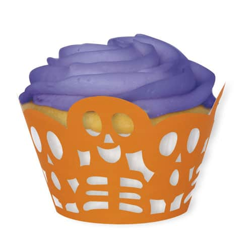 Halloween Orange Skeleton Cupcake Wrappers - Pack of 12