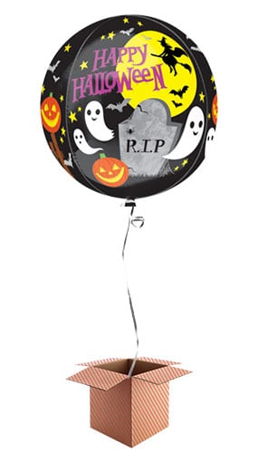 Spooky Halloween Orbz Foil Balloon - Inflated Balloon in a Box