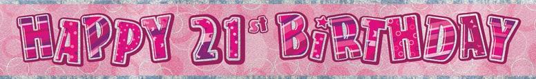 Pink Glitz 21st Birthday Prismatic Banner 274cm