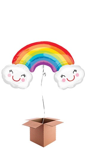 Rainbow With Clouds Supershape Foil Balloon – Inflated Balloon in a Box