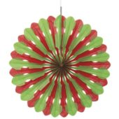 Red and Green Honeycomb Fan Decoration 40cm