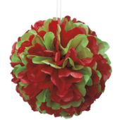 Red and Green Honeycomb Puff Ball Decoration 35cm