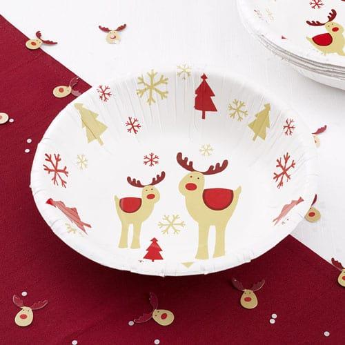 Christmas Rocking Rudolf Paper Bowls 18cm