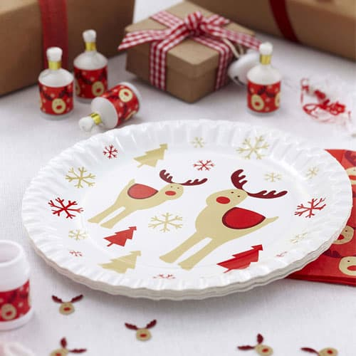Christmas Rocking Rudolf Paper Plates 23cm - Pack of 8