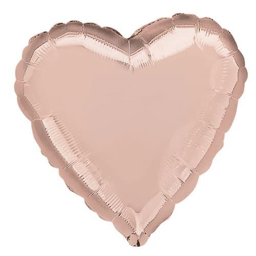 Rose Gold Heart Shape Foil Helium Balloon 43cm / 17Inch