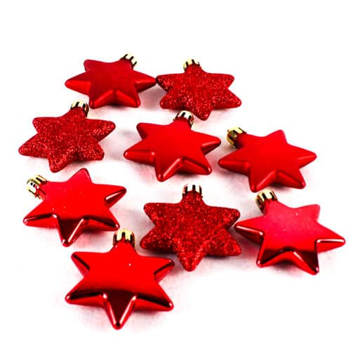 Assorted Christmas Red Star Decorations - Pack of 9