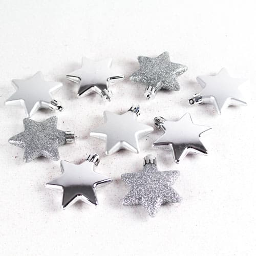 Assorted Christmas Silver Star Decorations - Pack of 9