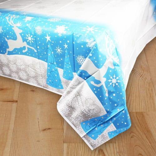 Christmas Silver Snowflake Plastic Tablecover 213cm x 137cm