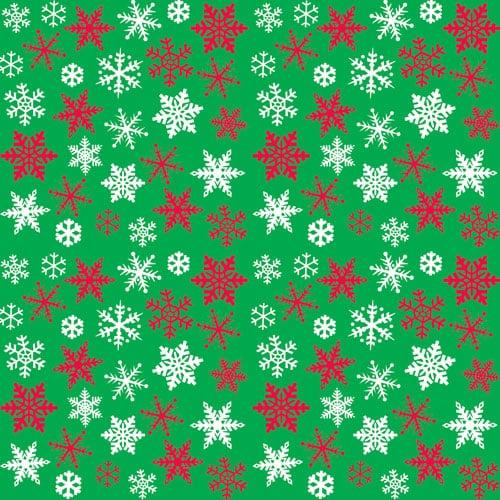 Snowflakes Green Gift Wrap 152cm