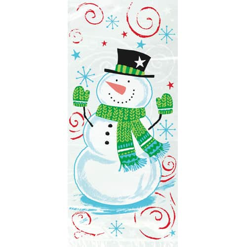 Snowman Swirl Cello Bags with Twist Ties - Pack of 20