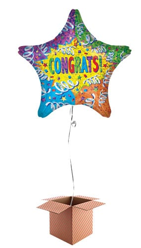 Congrats Holographic Explosion Star Foil Balloon - Inflated Balloon in a Box