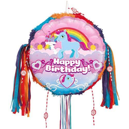 Unicorn Happy Birthday Holographic Pull String Pinata