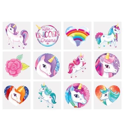 Assorted Mini Unicorn Tattoo Stickers - Pack of 12