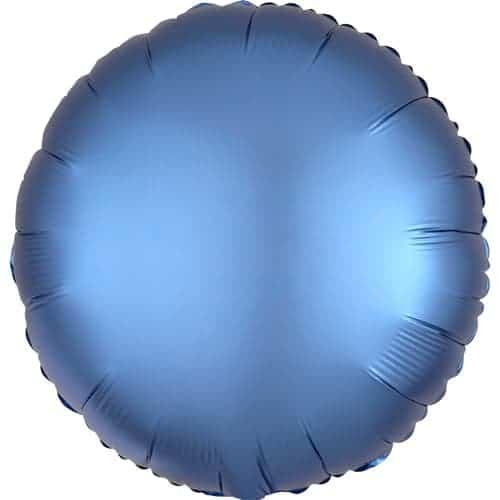 Azure Blue Satin Luxe Round Foil Helium Balloon 43cm / 17Inch