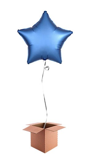 Azure Blue Satin Luxe Star Foil Helium Balloon - Inflated Balloon in a Box Product Image