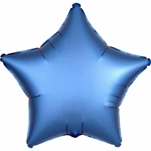 Azure Blue Satin Luxe Star Foil Helium Balloon 48cm / 19Inch