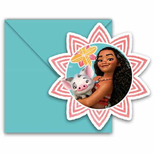 Disney Moana Invitations with Envelopes - Pack of 6