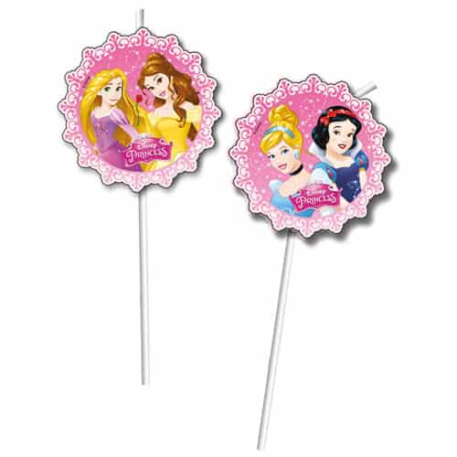 Disney Princess Plastic Drinking Straws - Pack of 6