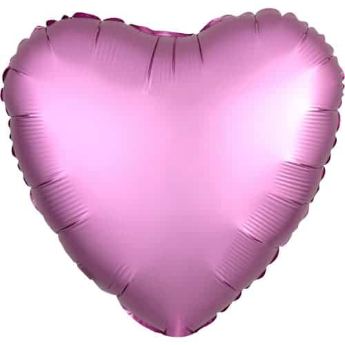 Flamingo Pink Satin Luxe Heart Foil Helium Balloon 43cm / 17Inch