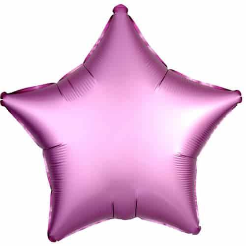 Flamingo Pink Satin Luxe Star Foil Helium Balloon 48cm / 19Inch