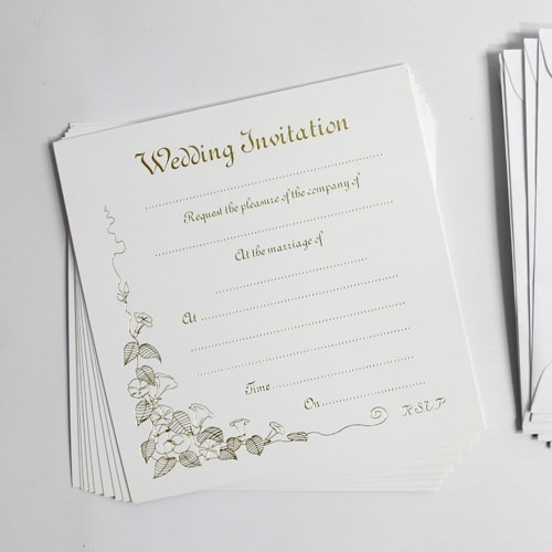 Gold Print Wedding Invitations With Envelopes - Pack of 10