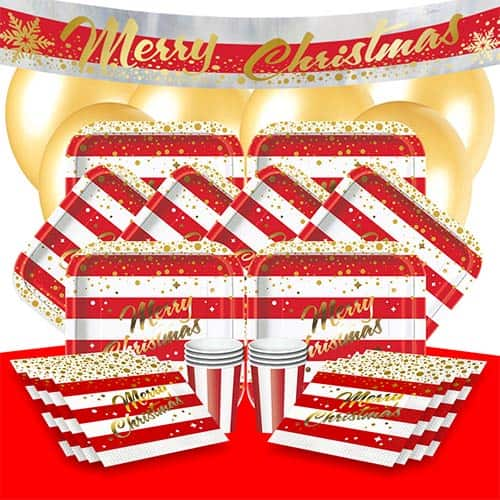 Gold Sparkle Christmas 8 Person Deluxe Party Pack