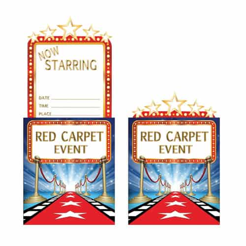 Hollywood Lights Pop-Up Invitations with Envelopes - Pack of 8