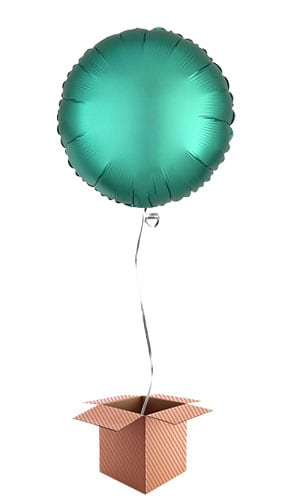 Jade Green Satin Luxe Round Foil Helium Balloon - Inflated Balloon in a Box Product Image