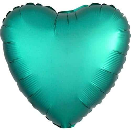 Jade Green Satin Luxe Heart Foil Helium Balloon 43cm / 17Inch