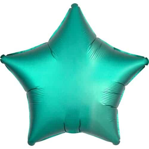 Jade Green Satin Luxe Star Foil Helium Balloon 48cm / 19Inch
