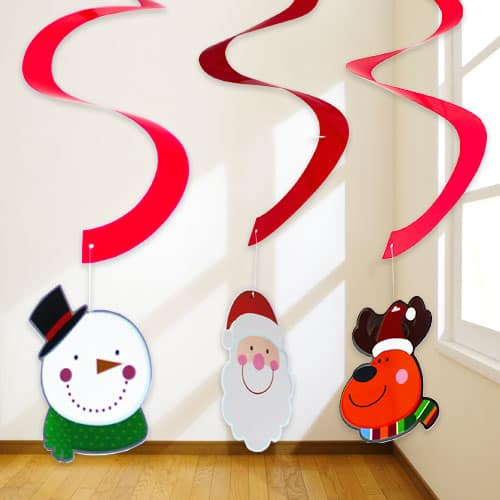 Christmas Character Hanging Swirl Decorations - Pack of 3