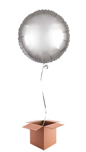 Platinum Silver Satin Luxe Round Foil Helium Balloon - Inflated Balloon in a Box