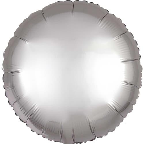 Platinum Silver Satin Luxe Round Foil Helium Balloon 43cm / 17Inch