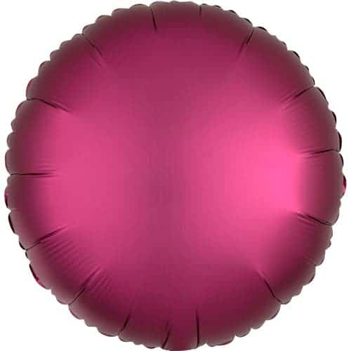 Pomegranate Burgundy Satin Luxe Round Foil Helium Balloon 43cm / 17Inch