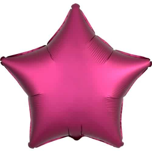 Pomegranate Burgundy Satin Luxe Star Foil Helium Balloon 48cm / 19Inch