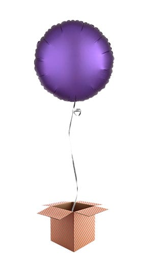 Purple Royale Satin Luxe Round Foil Helium Balloon - Inflated Balloon in a Box