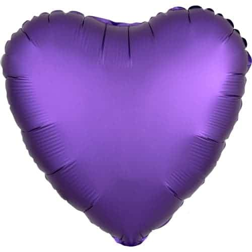 Purple Royale Satin Luxe Heart Foil Helium Balloon 43cm / 17Inch Product Image