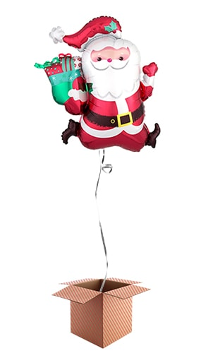 Running Santa Supershape Foil Helium Balloon - Inflated Balloon in a Box Product Image