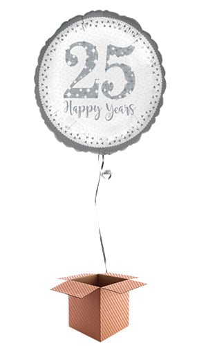 Sparkling Silver 25th Anniversary Round Foil Balloon - Inflated Balloon in a Box