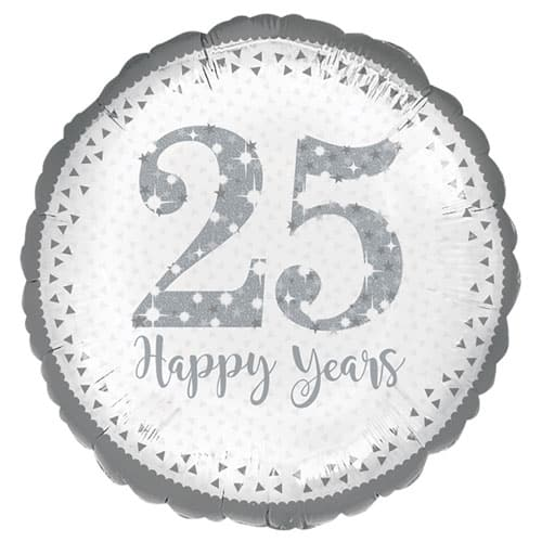 Sparkling Silver 25th Anniversary Round Foil Helium Balloon 43cm / 17Inch