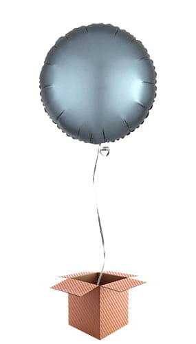 Steel Blue Satin Luxe Round Foil Helium Balloon - Inflated Balloon in a Box