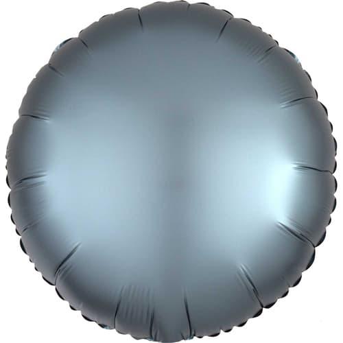 Steel Blue Satin Luxe Round Foil Helium Balloon 43cm / 17Inch